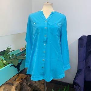 Denim & Co. Top Sz M Button Down Front Tunic Shirt